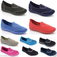 LADIES WOMENS GIRLS PUMPS FLEXI PLIMSOLLS COMFORT WALKING SPORTS TRAINERS SHOES