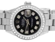 Ladies Stainless Steel Rolex Datejust Oyster Black Dial Diamond Watch 1.75 Ct