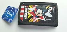 Mickey Mouse Tri Fold Wallet Coin Purse. Black, Bright Mickey Graphic