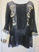 Free People Black Semi-Sheer Embroidery 3/4 Sleeve Top/Blouse Sz S~EC,