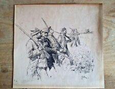 ERIK LUDVIG LUDWIG HENNINGSEN Original Antique Ink sketch Hunting Party