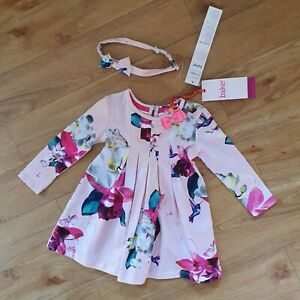 IMPERFECT Ted Baker Baby Girls Dress 6 - 9 Months Floral Birds Pink MARKED