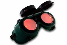 s TrYptiX Steampunk Cyber Goth Goggles Green Frame RED LED Light in Lense EDC