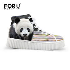 Animal Cat Panda High Top Sneakers Women Flat Platform Shoes Casual Ankle Boots