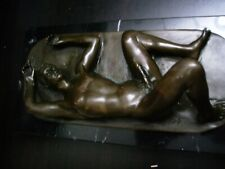 Naked Male Bronze Sculpture - Gay Interest ? - Solid Marble Base Figurine Statue
