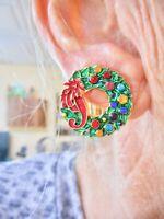 Authentic Vintage Xmas Gold Tone Rhinestone Wreath Clip Earrings