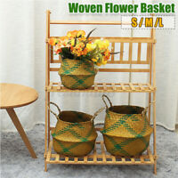 Woven Flower Pot Plant Basket Handmade Wall Mounted Storage Basket Hom 5@%