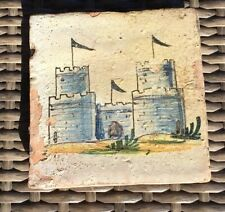 "Antique Vintage Hand Crafted Artist Painted Clay Tiles 5"" Square Art"