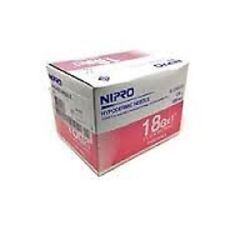 "Nipro 18G x 1 "" Hypodermic Needle -Box of 100- Comes in Sterile Blister Pack"