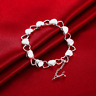 Womens 925 Sterling Silver Love Heart Link Chain Fashion Bangle Bracelet #B401