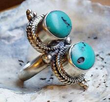 Extrem Silberring 62 MASSIV Türkis Grün Antik Handarbeit Ring Silber Verspielt