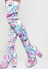 Sugar Thrillz Pastel Manga Thigh High Boots, Last one, only Size 6 available