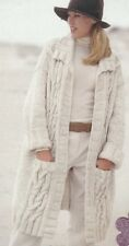Knitting Pattern Ladies Cable Car Coat Copy Chunky 14 ply Includes LARGER Sizes