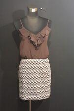APRICOT LANE Brown Chevron Rufgle Mini Dress Tunic Size Medium Juniors