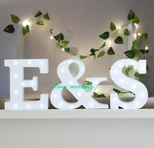 Freestanding Initials LED White Light Up Letters Letter Lights Wooden Letters Ma