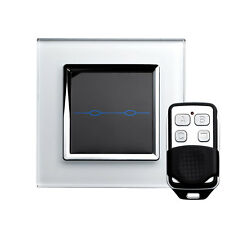 RetroTouch 00005 2 Gang White Glass Remote Control Touch Light Switch with Fob