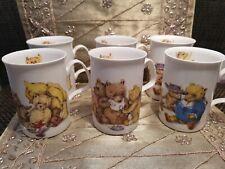 NEW Rare VINTAGE set x 6 teddy bears mugs - 1992 - Karen Buckley for Roy Kirkham