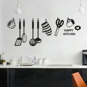 Kitchen Sticker Wall happy kitchen Decor Home Messy Face Removable Delicious Art