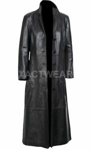 NEW Leather Trench Coat Long Coat For Men - Genuine Lambskin Full Length Jacket