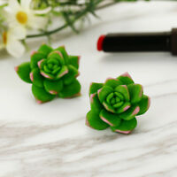 Exquisite Succulent Plants Shape Hoop Earrings For Women Soft Clay Jewelry Gifts