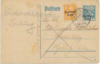 """DT.REICH 1921 30Pf Eichenstamm Bayern-Überdruck GA-Postkarte (ABART) """"ERBENDORF"""""""