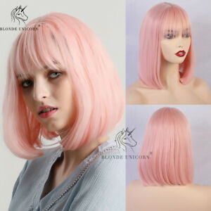 Beige White Women Short Bob Wigs with Bangs Natural Straight Daily Cosplay Party