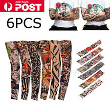 6pcs Men Women Sleeves Nylon Temporary Tattoo Sleeve Arm Stockings Tatoo Cool AU