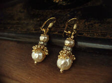 Vintage Jewellery Baroque Pearl, Matt Seed Beads Long Drop Earrings. Haskell