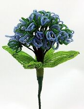 Vintage French Glass Beaded Blue Forget Me Not (Long Stem) Flower Bouquet