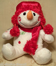 "SNOWMAN w RED HAT SNOWFLAKES~10"" Plush MERRY CHRISTMAS GIFT Stuffed Toy DAN DEE"