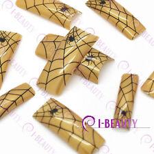 50psc Acrylic False French Nail Art Full Tips IBN1-0004 Gold Base Black Spider