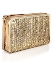 """BRAND NEW Woven Gold Evening Box Clutch Leather, """"Vegan Leather"""""""