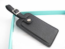 Tiffany & Co New Mint Black Textured Leather Luggage Tag!
