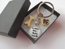 Handmade - White My Dog Loves Me Print - Pet Bone & Paw Print Keyring Boxed Gift