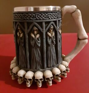 "Nemesis Now Grim REAPER TANKARD 13.5cm 5.5"" Death Figures Skulls Bone Handle VGC"