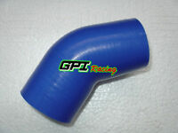 "45 Degree 2.5"" 63mm Silicone Joiner Elbow Radiator Hose Intercooler Pipe Blue"