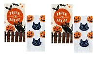 Celebrate Halloween Together Kitchen Dish Towels TRICK OR TREAT 4-Piece Set NEW