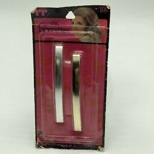 """Vintage Faberge Tip Top Metal Barrettes Silver Gold 3.75"""""""