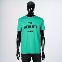 BERLUTI 560$ Green Cotton Short-Sleeve T-Shirt With Embroidered Logo