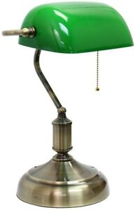 Bankers Desk Lamp 14.75 in. Executive Green Glass Shade Antique Nickel Base