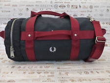 FRED PERRY Barrel Bag L1212 Webbing Canvas Carry Shoulder Navy Bags BNWT RRP£75