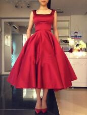 Satin Red Formal Tea Length Wedding Dress Cocktail Ball Prom Party Evening Gown