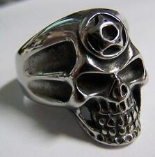 PENTAGRAM STAR SKULL HEAD STAINLESS STEEL RING size 10 silver metal S-532 biker