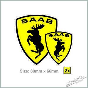"""2X""""SAAB Elch Ferrari"""" Aufkleber 90 900 9000 9-3 9-4x 9-5 99 - SAAB SPEZIAL FUN !"""