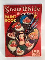 Vintage Large Walt Disney Snow White and the Seven Dwarves Paint Book 1930's