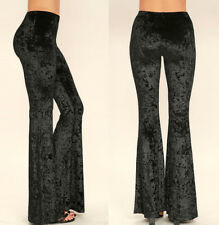 Women's Soft VELVET Bell Bottoms Stretch Flare Pants Boho Gypsy Black Burgundy