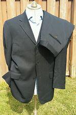 TED BAKER ENDURANCE Striped Navy Blue Wool Suit Jacket 40L Pants 33 x 33