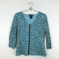 Style Co Blue Floral V-Neck 3/4 Sleeve Stretch Womens Blouse Top Size M