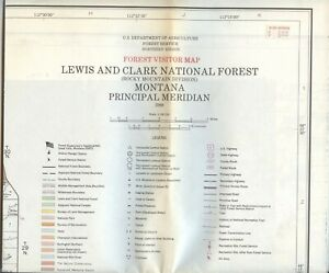 USDA National Forest Service Map LEWIS AND CLARK Rocky Mountain Montana 1988