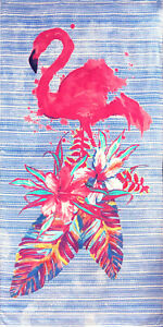 "30"" X 60"" Fashion Flamingo and Palms Velour Beach Towel 100%Cotton"